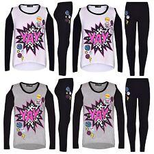 Girls Top Kids YAY Print Trendy T Shirt Top & Stylish Legging Set Age 7-13 Years