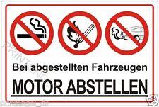Schild Bei abgestellten Fahrzeugen Motor abstellen Warnschild Hinweisschild P139