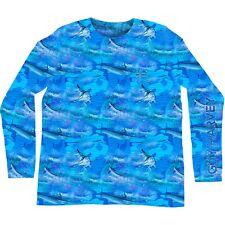 Guy Harvey Men's Marine Camo L/S Performance Fishing Boat T-shirt.Pick Size.MCAM