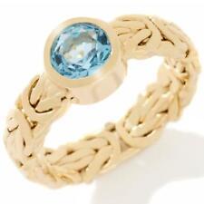 Genuine London Blue Topaz Gemstone Byzantine Ring Real 14K Yellow Gold Size 7