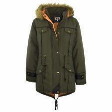 Kids Jacket DESIGNER'S Olive Parka Coat Faux Fur Hooded Top Christmas Gift 3-13