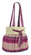 Womens Multi Color Canvas Messenger Shoulder Handbag Ladies Two Strap Purse Bag