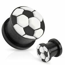 PLUG - Gioco Calcio Sport Tunnel Silicone Ball wm em Nero Bianco Piercing #179