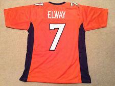 UNSIGNED CUSTOM Sewn Stitched John Elway Orange Jersey - M, L, XL, 2XL