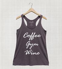 Coffee Gym Wine Workout Yoga Fitness Women Tank Top Racerback Avtivewear Funny