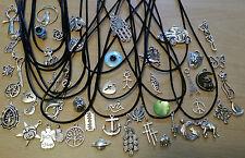 Pelle Nera Girocollo-Leather Cord Charm Girocollo Collana -- Retrò Hippy Vintage,