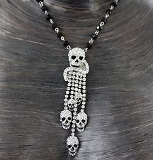 Butler et Wilson Tassell crâne cristal clair perle collier Nouveau Rosaire