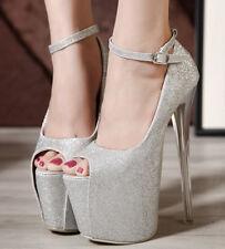 Womens 19CM Super High Heels Peep Toe Nightclub Buckle Platform Stiletto Shoes