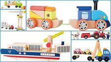Giocattolo in legno auto veicoli GRU TRATTORE bambini di età prescolastica ferroviaria nave GIRL BOY