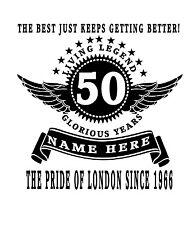 Personalizado 50 Cumpleaños t-shirt regalo para elegir nombre lugar Año