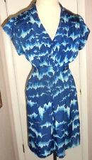 Ladies Crimson Coast Blue Short Sleeve Geo Print V-Neck Dress Size S