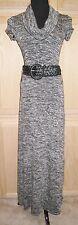 Sophie Max Studio Regina Black Marled Leather Belted Drape Neck Maxi Dress, $118