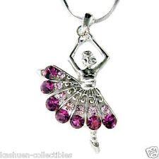 Purple w Swarovski Crystal ~BALLERINA Ballet Dance Dancer Pendant Chain Necklace