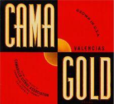 Camarillo Cama Gold Orange Citrus Fruit Crate Box Label Art Print