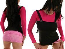 Trendy Miss Donna 2 strati Scollo Manica Lunga Girly shirt spalline top 34/36/38 NUOVO