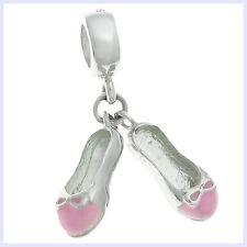 Sterling Silver Girl Bow Shoe Pink Enamel Dangle Bead f/ European Charm Bracelet