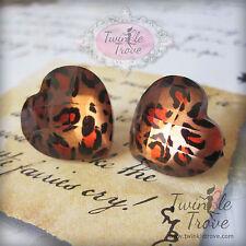 Faceted 3d Heart Leopard Print Stud Clip On Earrings. Retro Funky Cute