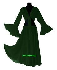Dark Green - Belly Dance Chiffon Skirt + Top Set Ruffle Tie Gypsy Dress Jupe