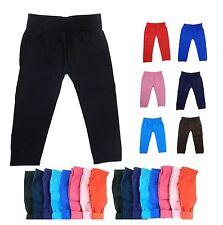 NWT GIRL KIDS BASIC SOLID SOFT WARM THICK FLEECE LEGGINGS SKINNY PANTS OPAQUE