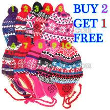 Women Girls Winter Peruvian Ear Flap Ski Hat Warm Beanie Cap Snow Heart