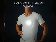 3 New Polo Ralph Lauren White 100% Cotton V-Necks T-Shirts S,M,L,XL, 2XL