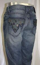 Men's Antik Denim Vintage Blue w/ Grey Genuine Leather Applicate Jeans
