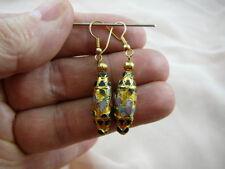 (EE607-60) Gold pink flower CLOISONNE oval disk bead dangle oblong EARRINGS