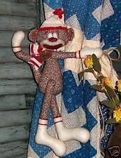 Primitive Rag Sock Funky Monkey Ornie Doll Paper Pattern #518