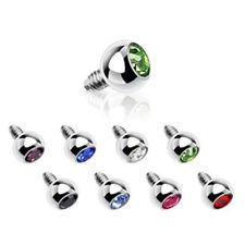 Dermal Anchor Aufsatz 3mm Zirkonia 8 Farben oder Set  -- PIERCINGS von COOLBODY
