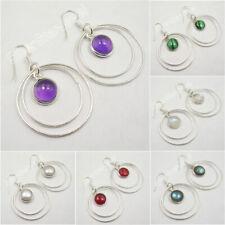 925 Silver PLAY CIRCLES Earrings LABRADORITE & Select Choice Gemstones Variation