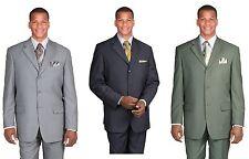 Men's 3 single  Button Basic suit , Jacket with  Pants set Green Color 802P