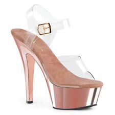 "6"" Clear Rose Gold Platform High Heels Stripper Pole Fitness Basic Shoes Pleaser"