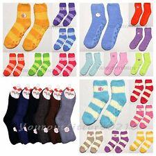6 12 Pair Women Plush Slipper Socks Soft Fuzzy Non-Skid Winter Solid Stripe 9-11