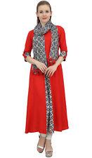 Bimba Indian Women Rayon Designer Red A-Line Kurta Ethnic Kurti With Scarf