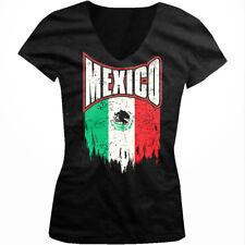 Mexico Splattered Flag Mexican Pride Viva La Raza Country Juniors V-neck T-shirt