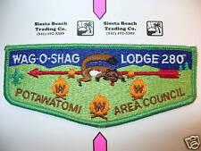 OA Wag O Shag Lodge 280 S-8,1990s Fox Flap,GRN Bd,Potawatomi Council,Waukesha,WI