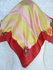 New 100% Pure Silk Scarf Bandana - Rainbow Flowers
