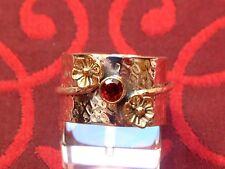 Designer Ring - mit Granat & Blüten - Sterling Silber - 925 - Rund Schliff EDEL
