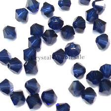 3mm Dark Indigo blue (288) Genuine Swarovski crystal 5328 XILION Bicone Beads