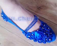 Azul Zafiro Perla Tobillera Seda Rosa de Encaje Flores Boda Zapatillas Planas