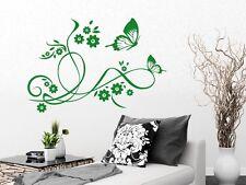 Tattoo Wandaufkleber Wanddeko Sticker für Wohnzimmer Schmetterlinge Blumen Blüte
