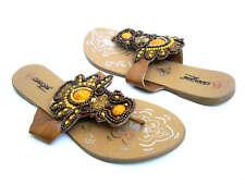 NEW Brown Rhinestone Bead Flat Thongs sandal shoes