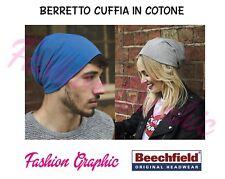 BERRETTO CUFFIA BEECHFIELD UNISEX SEI COLORI CAPPELLO COTONE BEANIE LONG CAP HAT