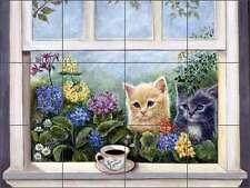 Tile Mural Backsplash Ceramic Paterson Kittens Coffee Cat Art Cpa010