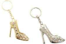 Rhinestone Fashion Bling High Heel Keychain Key Ring Shoe Charm GOLD~SILVER LOT