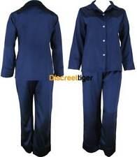 Navy Blue Ladies Satin Pyjamas Silk Pjs Winter Sleepwear Plus Sizes 6 to 26