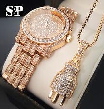 Men Hip Hop Iced Out Lab Diamond Watch & Power Plug pendant Necklace Gift Set