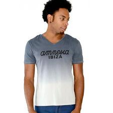 UFFICIALE AMNESIA IBIZA Club Logo T-shirt Uomo Dip Dye Gradiente Grigio Antracite RRP £ 50