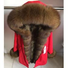 Donne reale Racoon pelliccia con collo di volpe rossa Parker Cappotto Invernale (Vari pelliccia)