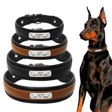Personalisiert Hundehalsband mit Namen Leder Hunde Halsbänder Schwarz Braun M-XL